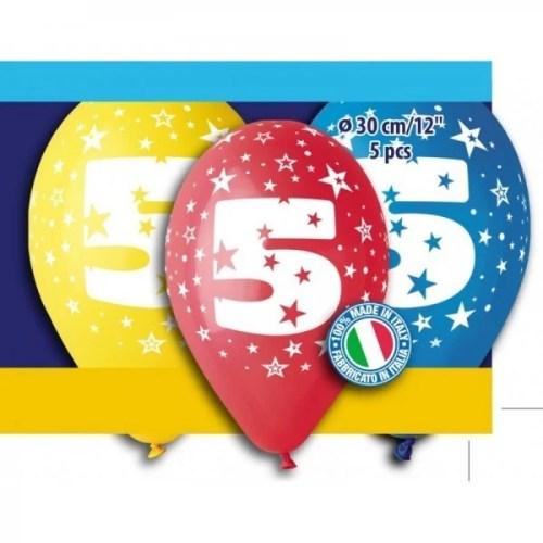 Μπαλόνια τυπωμένα για γενέθλια Νούμερο 5 (5 τεμ)