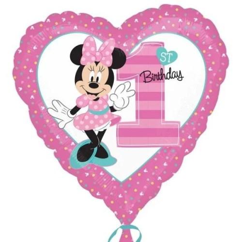 Μπαλόνι Καρδιά για γενέθλια Minnie 1st Birthday