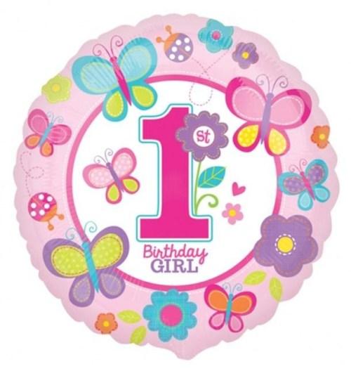 Μπαλόνι Πεταλούδες First Birthday Girl 45 εκ