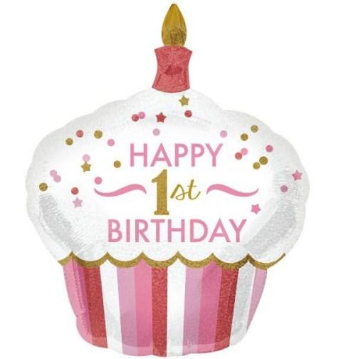 Μπαλόνι για γενέθλια Cup Cake 'Happy 1st Birthday' κοριτσάκι