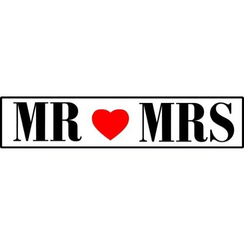 Πινακίδα αυτοκινήτου γάμου Mr & Mrs