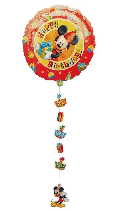 Μπαλόνι Mickey Happy Bday με κορδέλα 86 εκ
