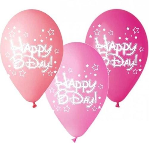 Μπαλόνι τυπωμένο για γενέθλια ροζ αποχρώσεις 'Happy Bday' αστεράκια