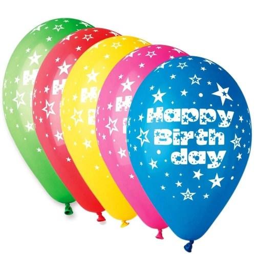Μπαλόνι τυπωμένο για γενέθλια σε 5 χρώματα 'Happy Birthday' αστεράκια