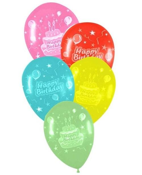 Μπαλόνι τυπωμένο για γενέθλια σε 5 χρώματα 'Happy Birthday' τούρτα