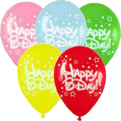 Μπαλόνι τυπωμένο για γενέθλια σε 5 χρώματα 'Happy Bday' αστεράκια