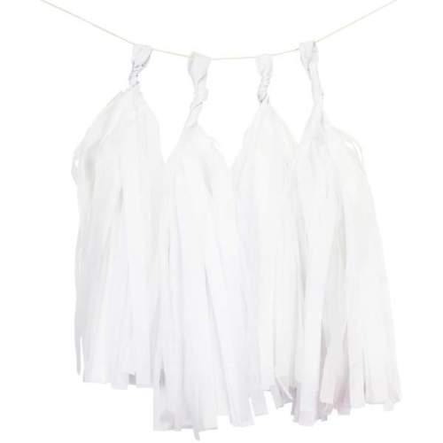 Άσπρη γιρλάντα με φούντες (5 τεμ)