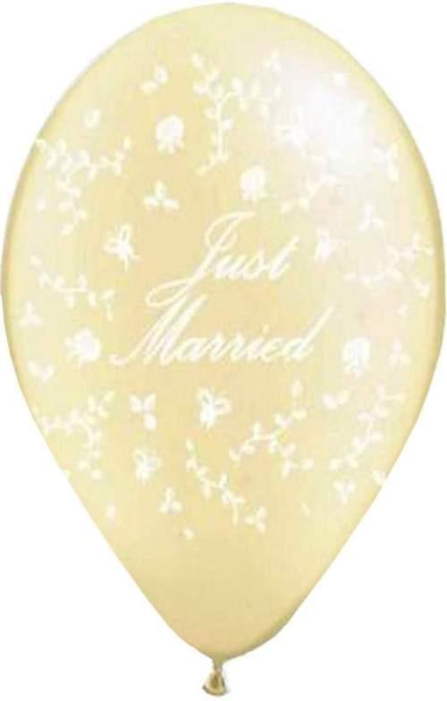 """12"""" Μπαλόνι τυπωμένο ιβουάρ Just Married"""