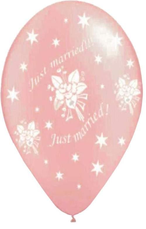 """12"""" Μπαλόνι τυπωμένο ροζ Just Married αστεράκια"""
