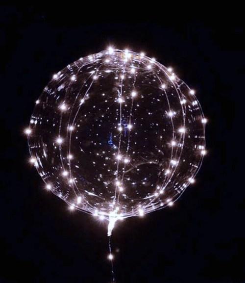 """18"""" Διάφανο μπαλόνι φωτιζόμενο με λευκό LED."""