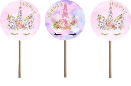 Στικάκια για cupcake Μονόκερος (8 τεμ)