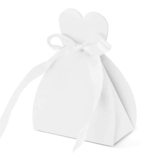 Λευκά χάρτινα κουτάκια Νυφικό μαζί με κορδελίτσα (10 τεμ)