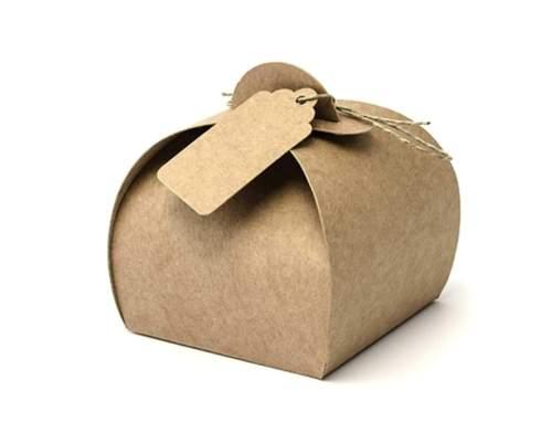 Κουτάκι κραφτ καμπυλωτό για μπομπονιέρα με σπάγκο και καρτάκι (10 τεμ)