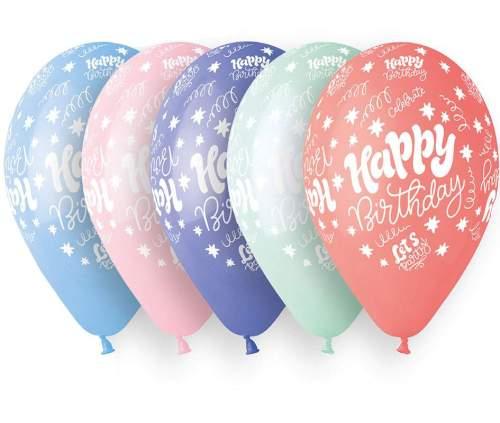 Μπαλόνι τυπωμένο για γενέθλια σε 5 χρώματα 'Happy Birthday Lets Party'