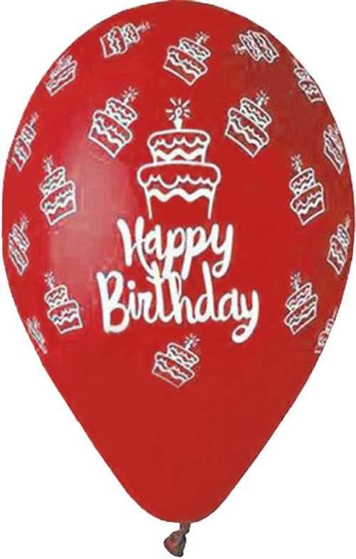 Μπαλόνι τυπωμένο για γενέθλια Κόκκινο 'Happy Birthday' cake