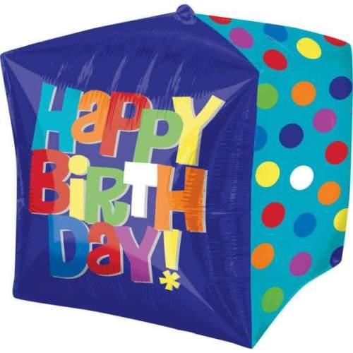 Μπαλόνι 3D κύβος Happy Birthday 38 εκ