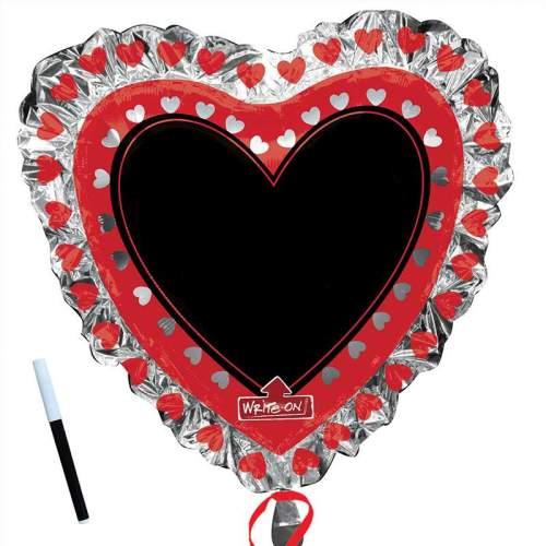 Μπαλόνι αγάπης καρδιά με μαύρο πινακάκι