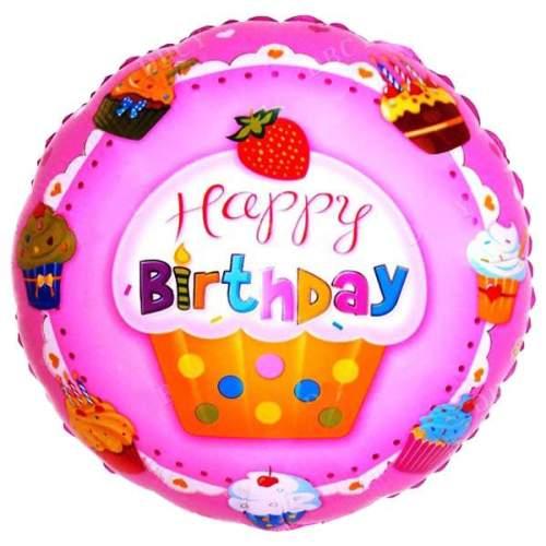Μπαλόνι Happy Birthday cup cakes Φράουλα 45 εκ