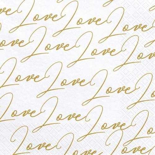 Λευκέςμε χρυσό ''Love'' χαρτοπετσέτες (20 τεμ)