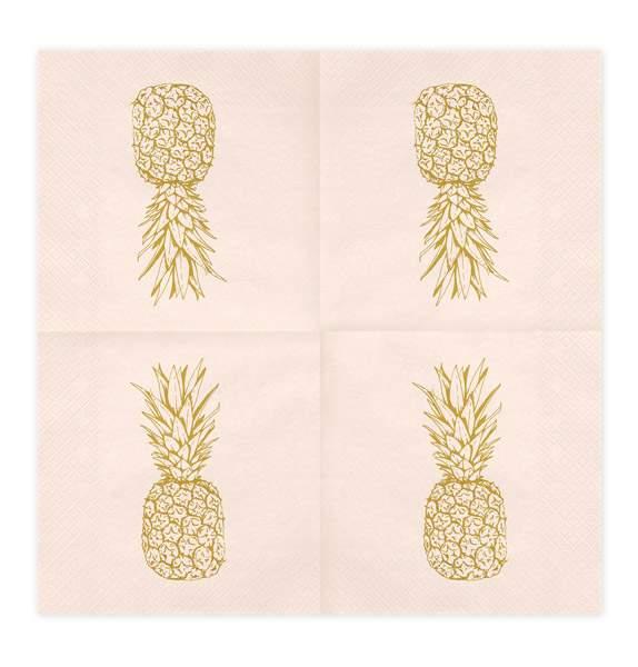 Ροζ χαρτοπετσέτες με χρυσό ανανά (20 τεμ)