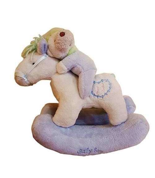 Λούτρινο Γαλάζιο αρκουδάκι σε κουνιστό αλογάκι