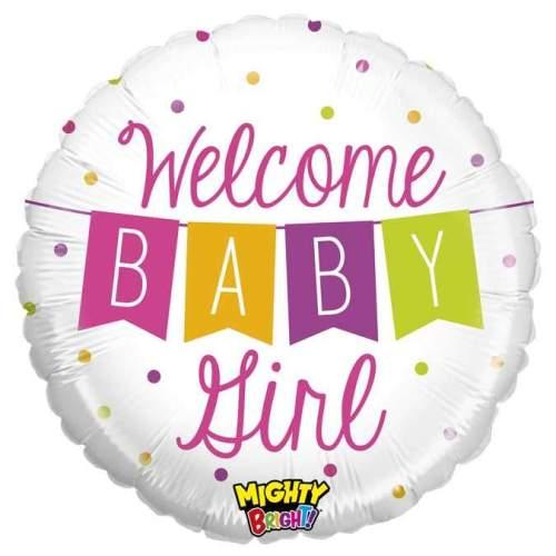 Μπαλόνι γέννησης Welcome Baby Girl μπάνερ 45 εκ