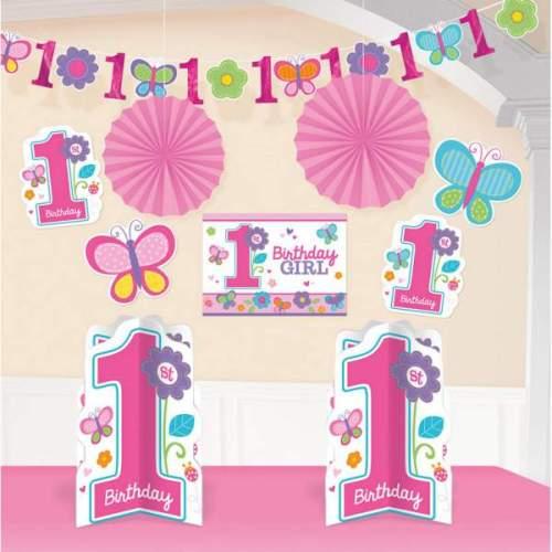 Σετ διακόσμησης χώρου Πρώτα γενέθλια κοριτσάκι (10 τεμ)
