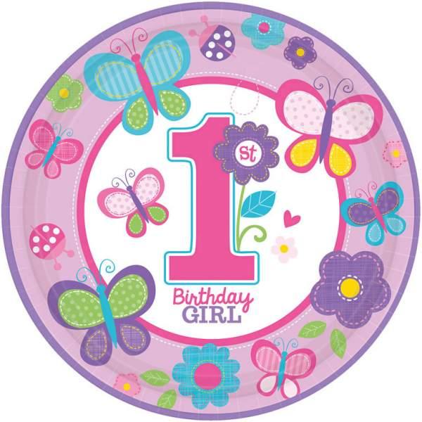 Πιάτα πάρτυ μεγάλα 1st birthday girl (8 τεμ)