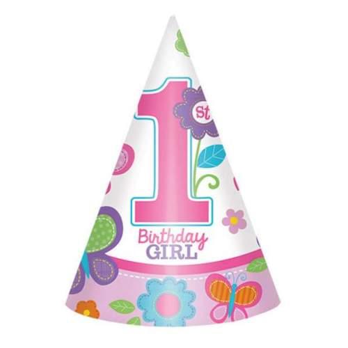 Καπελάκια χάρτινα 1st birthday girl (8 τεμ)