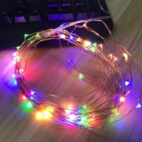 Λαμπάκια led με πολύχρωμο φωτισμό και καλώδιο χαλκού 3m