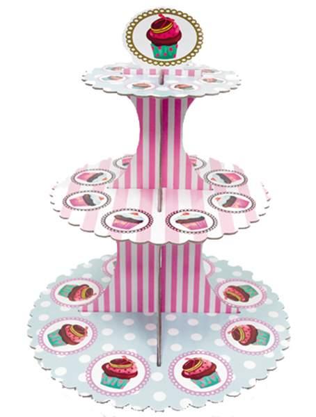 Βάση για Cupcake άσπρη με Ρίγες & Πουά