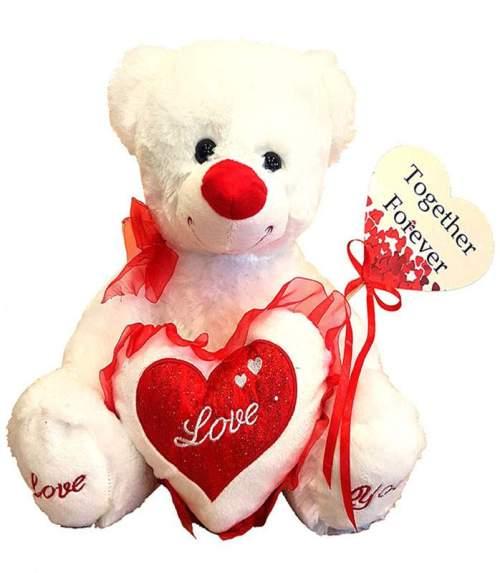 Λούτρινο Αρκουδάκι Love με στικ καρδιά 'Together Forever'