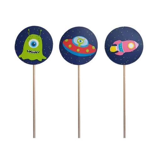 Στικάκια για cupcake Διάστημα (8 τεμ)