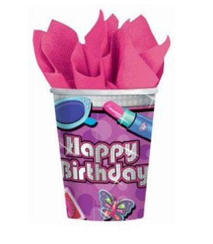Ποτήρια πάρτυ χάρτινα glamour happy birthday (8 τεμ)