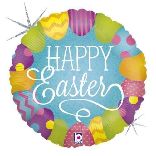 """Μπαλόνι """"Happy Easter"""" με γκλίτερ"""