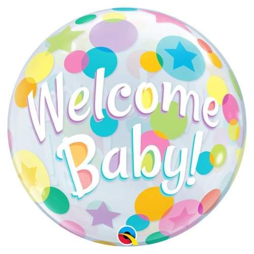 """Μπαλόνι bubble """"Welcome Baby"""" 61 εκ"""