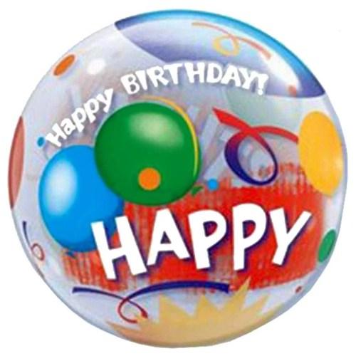 """Μπαλόνι """"Happy Birthday"""" με μπαλόνια bubble"""