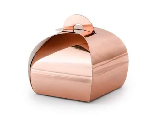 Ροζ Χρυσό καμπυλωτό κουτάκι για μπομπονιέρα (10 τεμ)