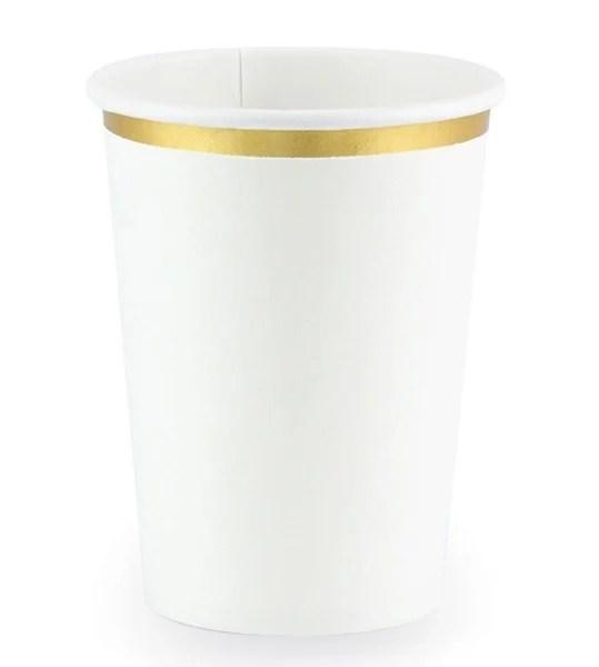 Ποτήρια πάρτυ λευκό με χρυσό (6 τεμ)