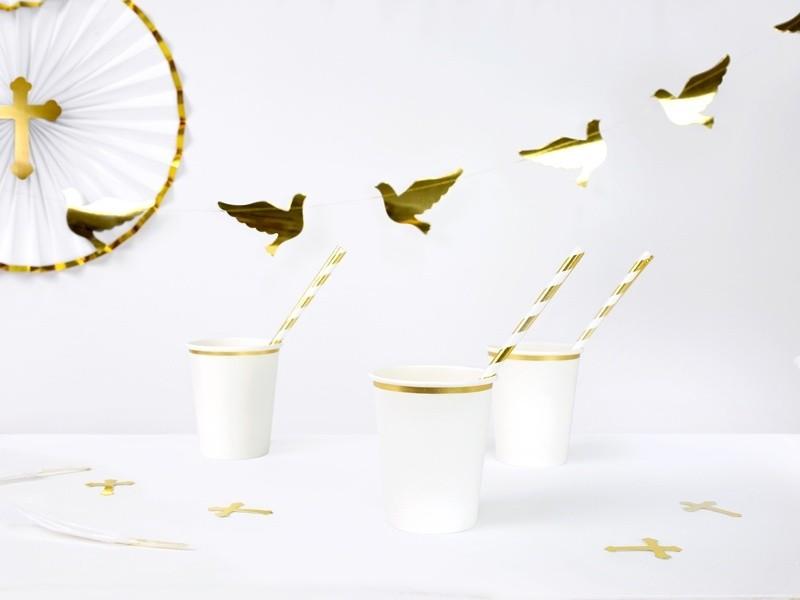 Ποτήρια πάρτυ χάρτινα λευκό με χρυσό (6 τεμ)