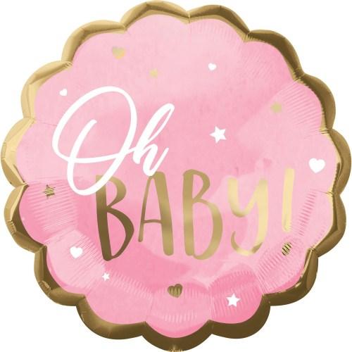 Μπαλόνι γέννησης Oh Baby ροζ 55 εκ