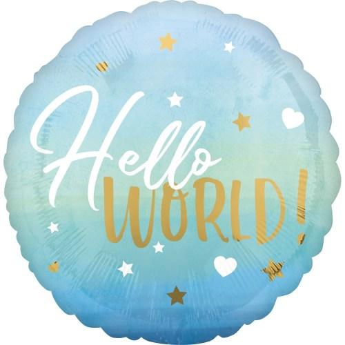 Μπαλόνι γέννησης Hello World γαλάζιο 45 εκ