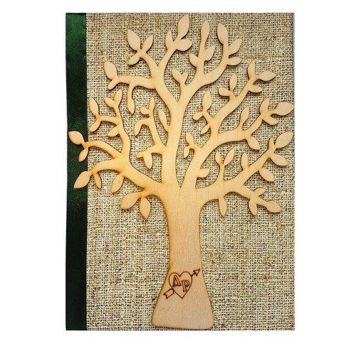 Βιβλίο ευχών γάμου σαγρέ ξύλινο Δέντρο