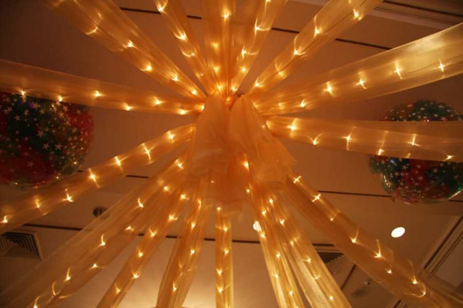 Ceiling Draping   Balloon Artistry     Lights Draped from Ceiling  Gold Sparkle Organza