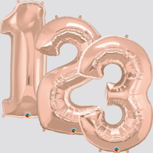 """34"""" Helium Filled Rose Gold Numbers"""