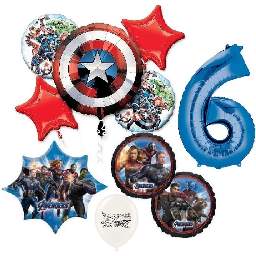 Marvel S Avengers Captain America 7th Happy Birthday Bundle Balloon Bouquet Bundle Set Kit Bouquet Kids Boys Girls Decoration Party Supplies