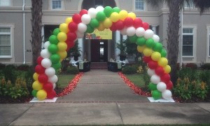 Outdoor balloon arch for sorority Rush Week, by Balloonopolis, Columbia, SC