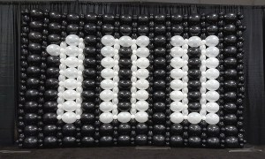 Balloon Wall for 100 Year Birthday, Balloon Numbers and Letters, by Balloonopolis, Columbia, SC