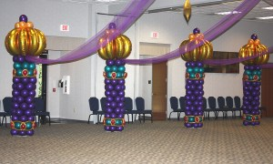 Arabian Nights Themed Balloon Columns for Prom, by Balloonopolis, Columbia, SC