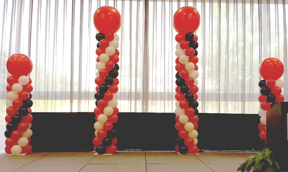 Red White and Black Balloon Columns by